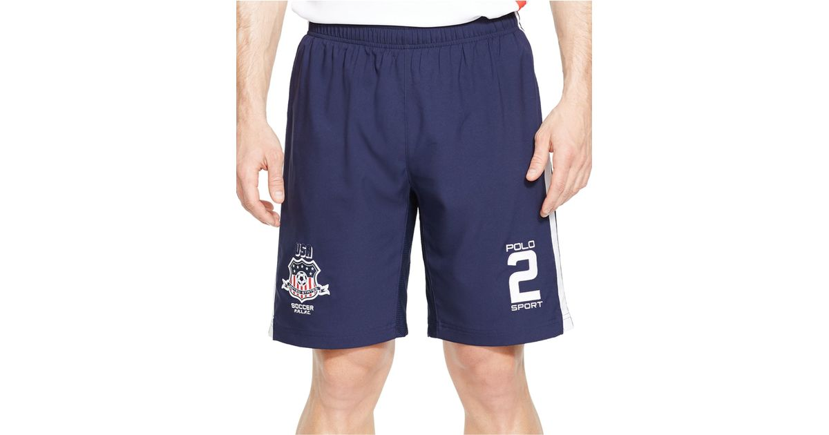 4fe3185a5 Polo Ralph Lauren Polo Sport Usa Soccer Compression Shorts in Blue for Men  - Lyst