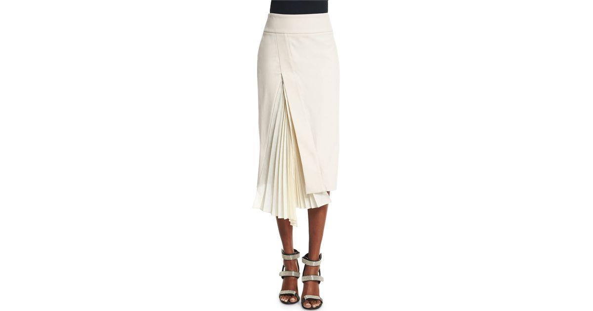 9e4ab6165 Lyst - Brunello Cucinelli Accordion-slit Pencil Skirt in Natural