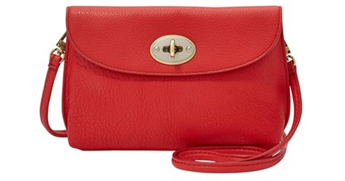 Lyst - Fossil Monica Leather Cross-Body Bag in Red 2c14155db950