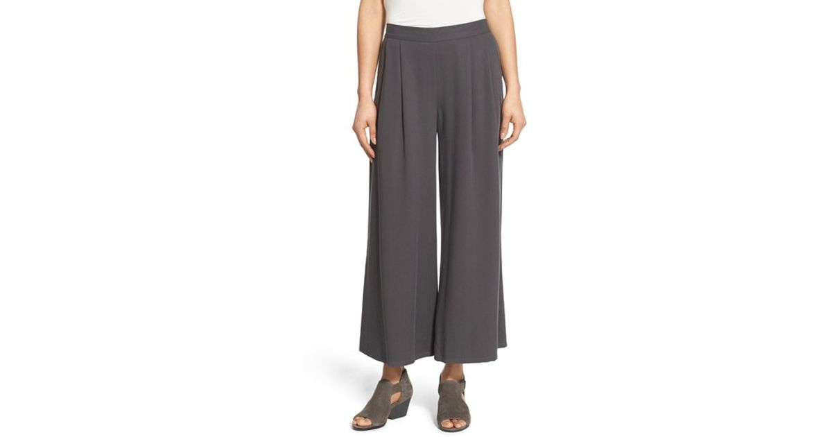 ab7f7048e64 Lyst - Eileen Fisher Wide-Leg Tencel and Twill Pants in Gray