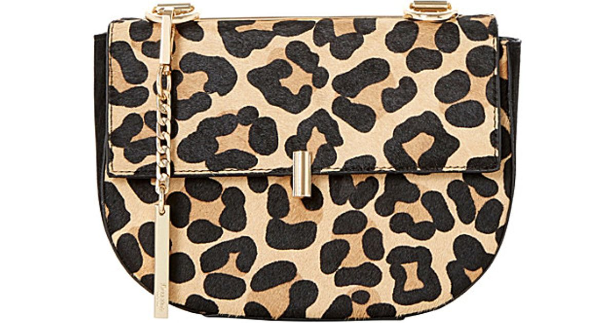 e6bb1860a4d3 Dune Evita Leopard-print Mini Saddle Bag - Lyst