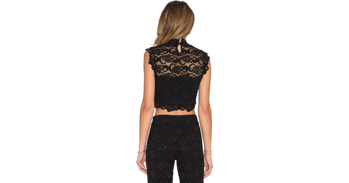3830dad9ebbc6b Lyst - Nightcap Dixie Lace Crop Top in Black