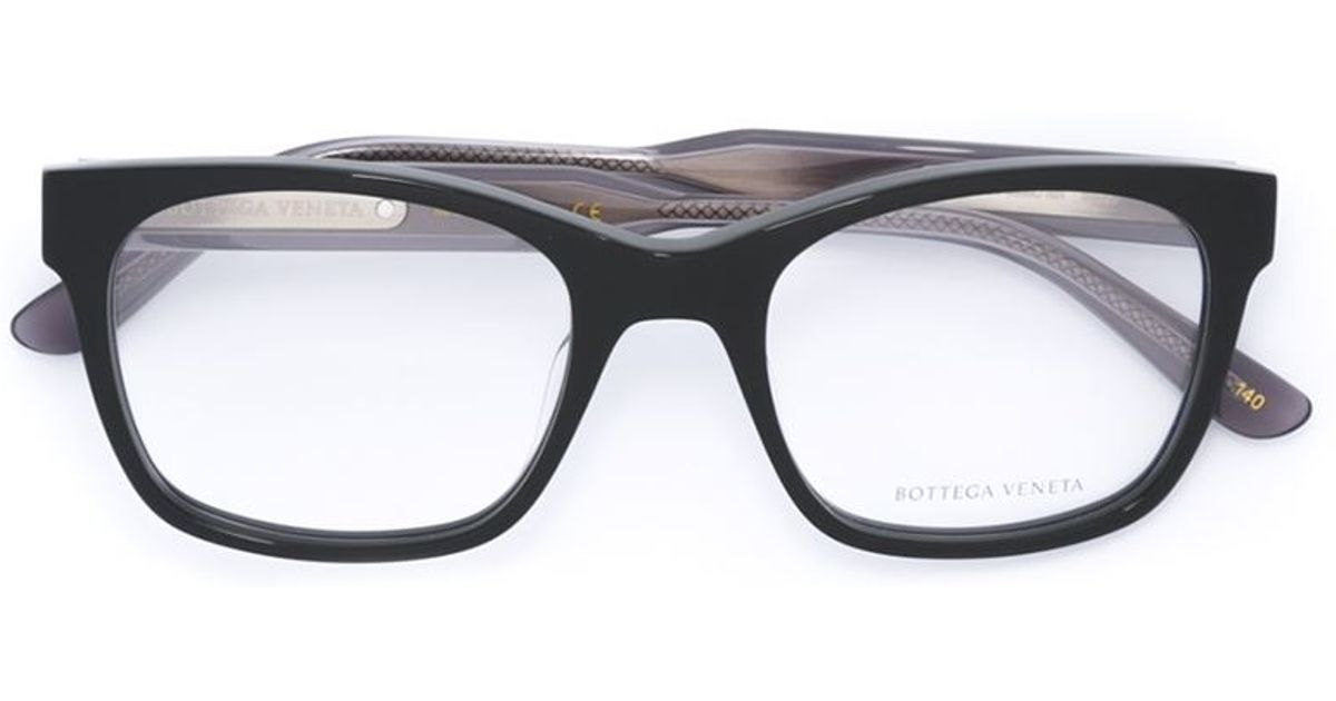 Black Frame Square Glasses : Bottega veneta Square Frame Glasses in Black Lyst