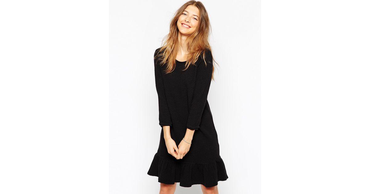 Lyst Ganni Long Sleeve Dress With Ruffle Hem In Black