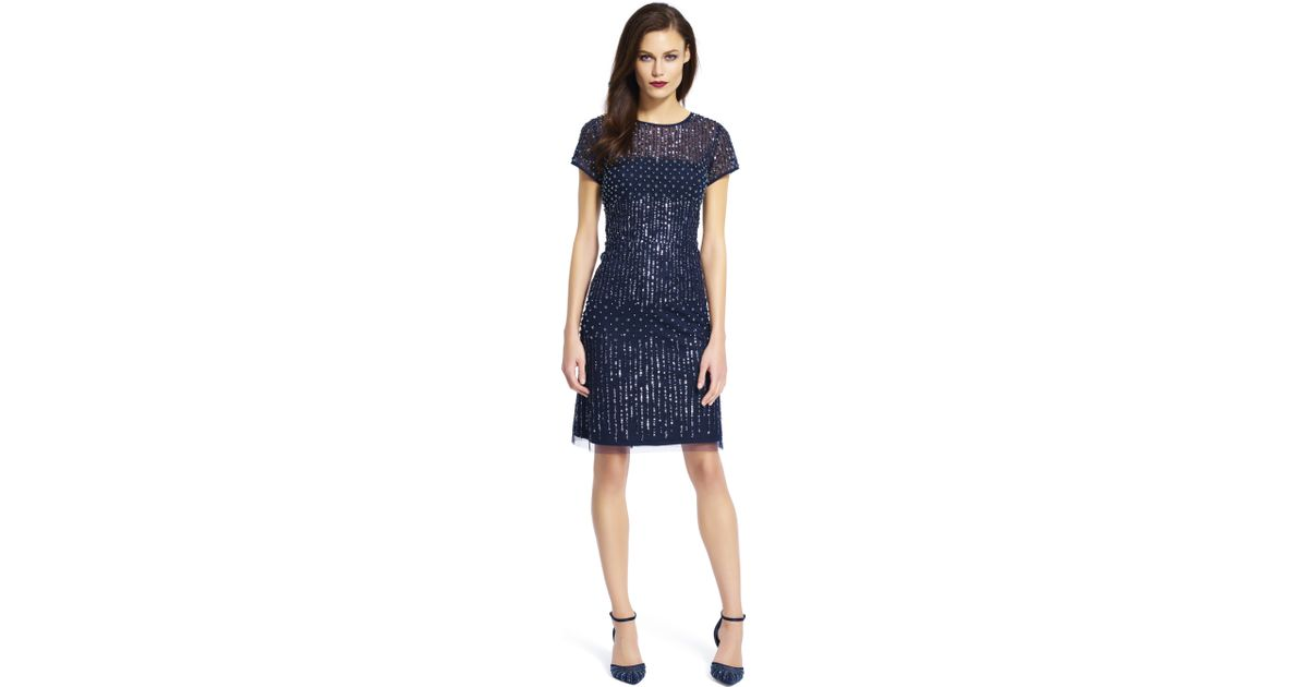 Lyst - Adrianna Papell Short Sleeve Beaded Cocktail Dress in Blue