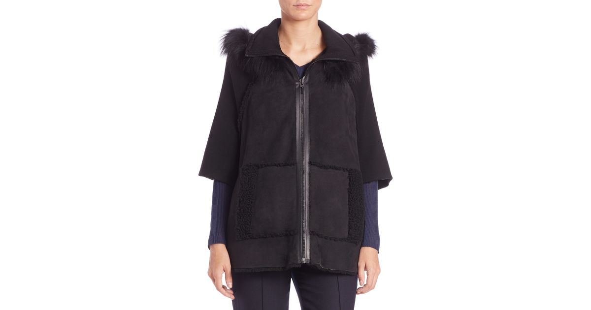 Elie tahari Joey Fur-trimmed Shearling Cape Jacket in Black | Lyst