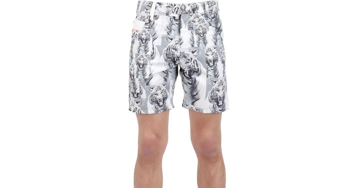 e1bde8043e DIESEL Tiger Nylon Swimming Shorts in Gray for Men - Lyst