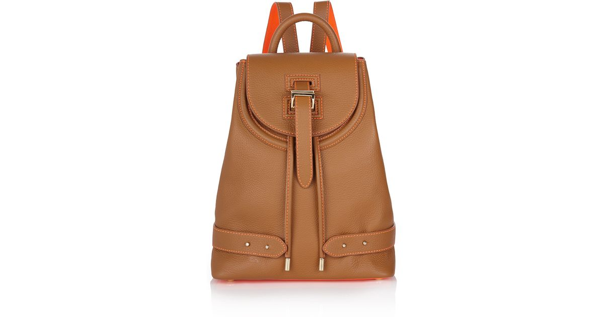 Lyst - meli melo Backpack Mini Tan   Fluoro Coral in Brown 1cf33e4884adf