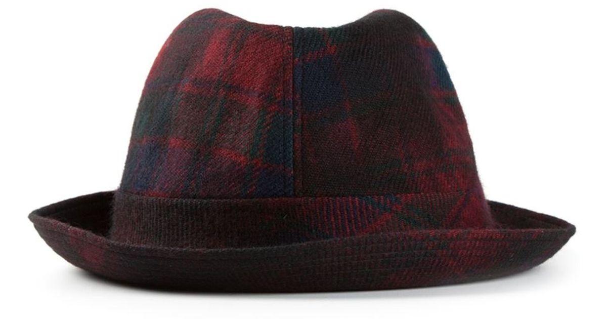 36acdfa2b4811 Lyst - Comme des Garçons Tartan Pattern Trilby Hat in Red for Men