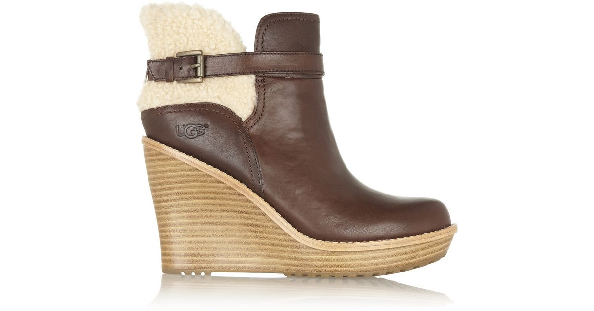 f27ce1388324 UGG Anais Shearling and Leather Wedge Ankle Boots in Brown - Lyst