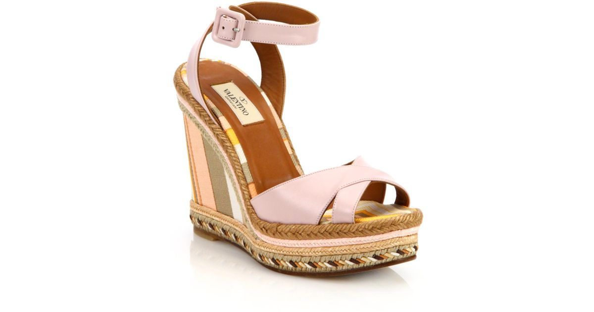78325cdd767 Lyst - Valentino Leather Crisscross Stripe Espadrille Wedge Sandals in Pink