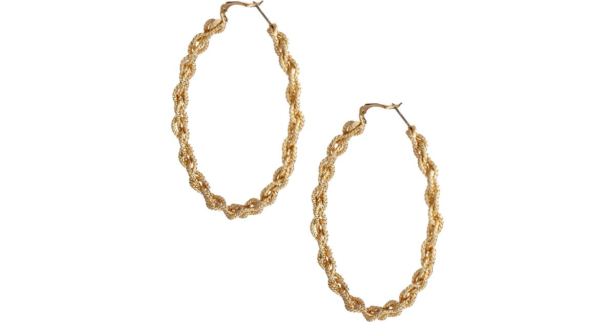 Lyst Asos Rope Chain Hoop Earrings in Metallic