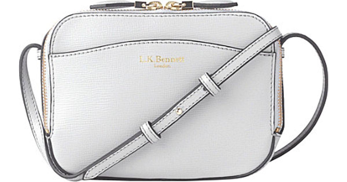 27be46a3116c L.K.Bennett Mariel Saffiano Leather Cross-body Bag in Gray - Lyst