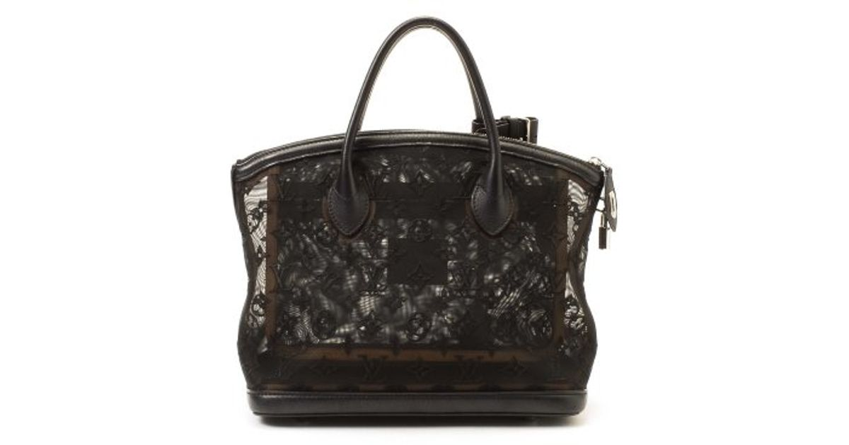Lyst Louis Vuitton Preowned Limited Edition Black Lace Lockit Monogram Traparence Bag In