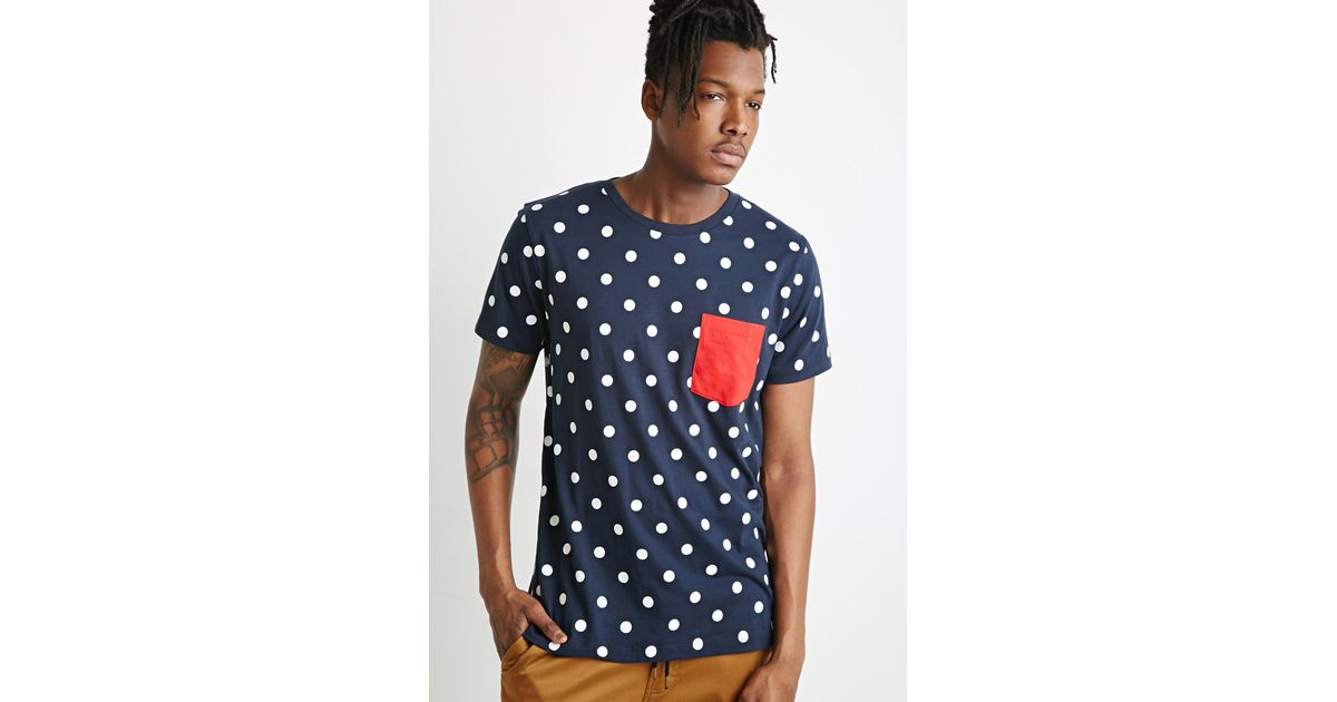 2b4a2836201 Lyst - Forever 21 Polka Dot Tee in Blue for Men