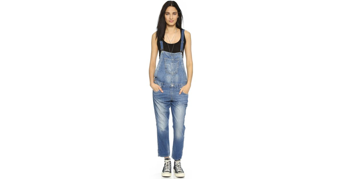 1edcf3af2cb True Religion Katie Cropped Overalls in Blue - Lyst