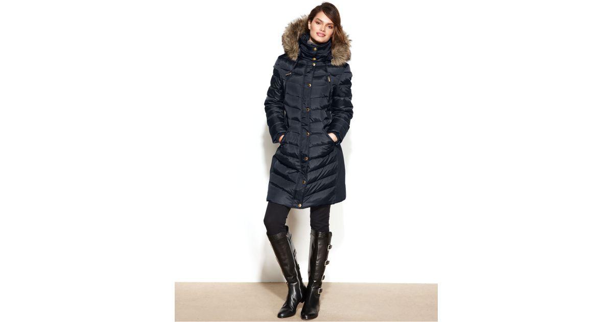 4bb51c8da990 Lyst - Michael Kors Michael Petite Faux-Fur-Trim Hooded Puffer Down Coat in  Blue