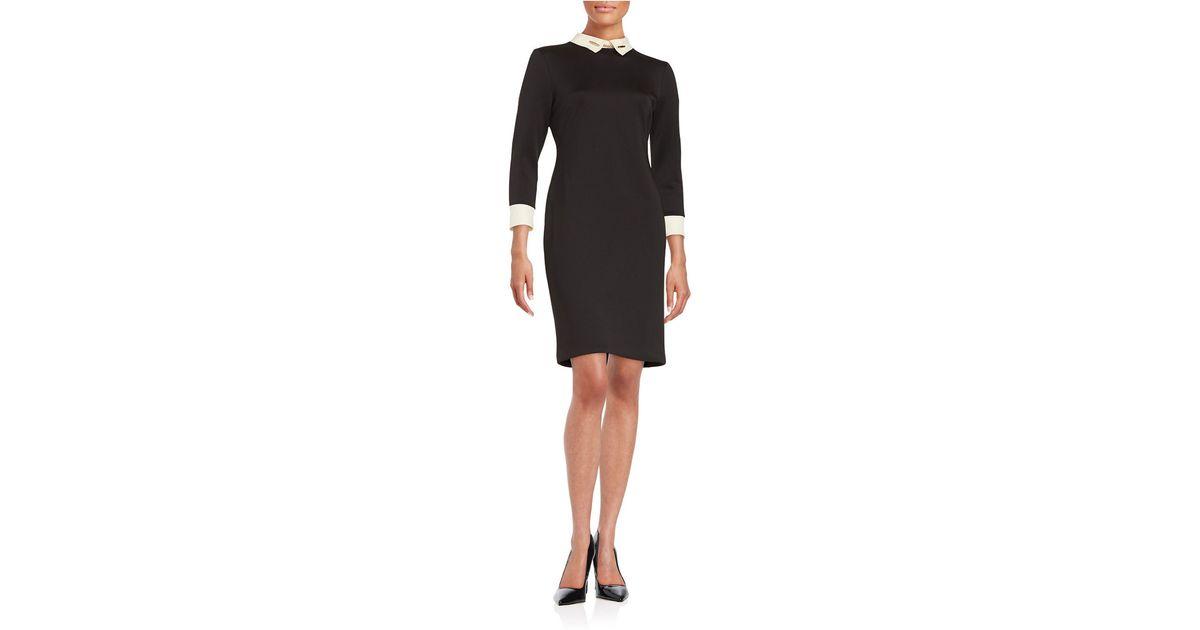 Ivanka trump Collared Sheath Dress in Black | Lyst