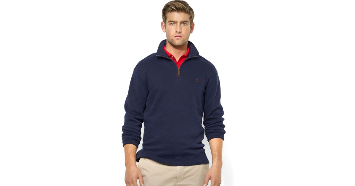 Ralph Lauren Men Mesh Cotton Half-zip Sweaters