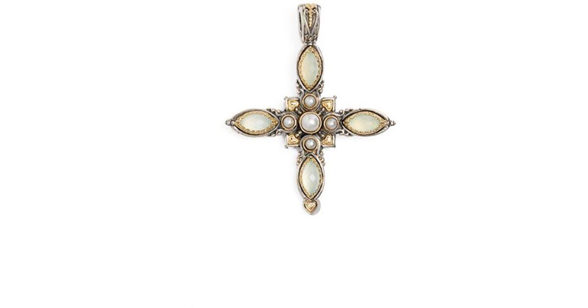 Konstantino Amphitrite Agate & Pearl Cross Pendant Enhancer bBOAa5Aw4
