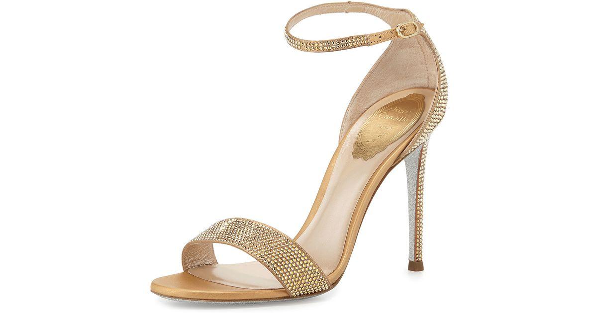 69d2937504e Lyst - Rene Caovilla Crystal Ankle-wrap 105mm Sandal in Metallic