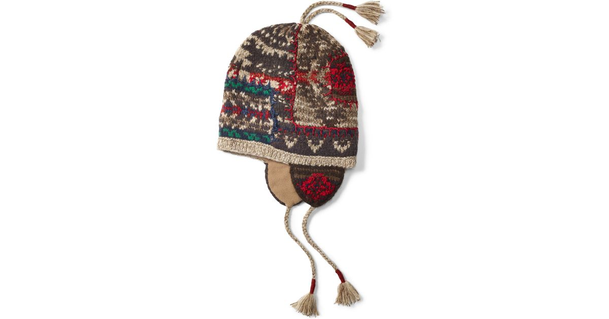 0f017aaf3b9 Lyst - Polo Ralph Lauren Patchwork Earflap Hat for Men