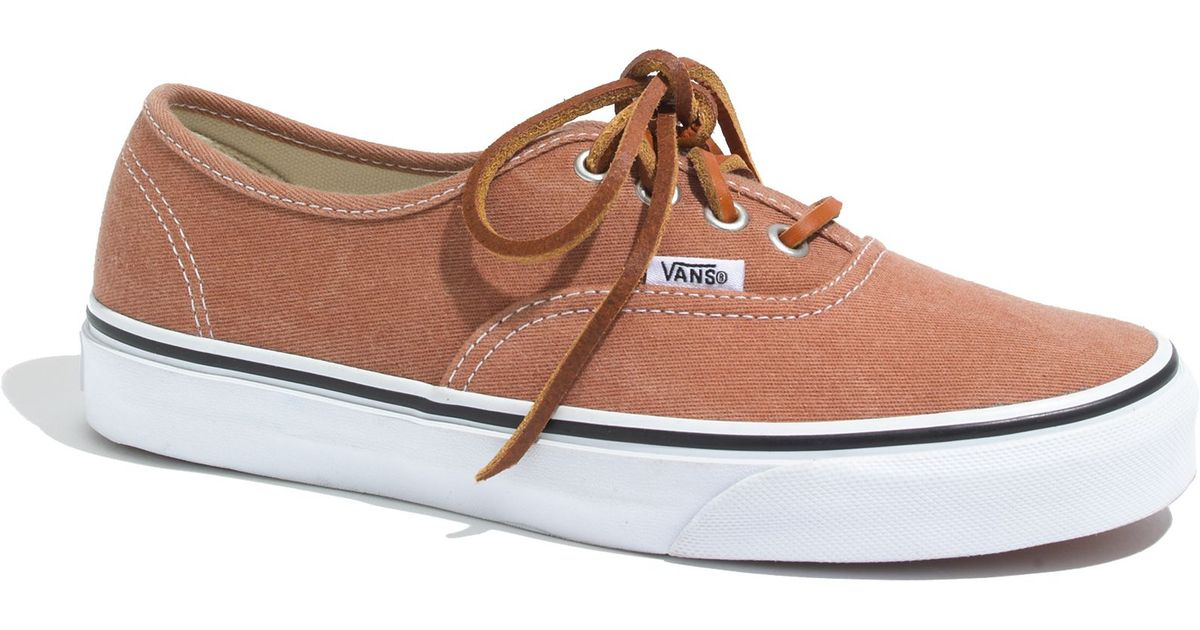 f20a7384ed9de3 Lyst - Madewell Vans Reg  Authentic Brushed Twill Sneakers in Natural