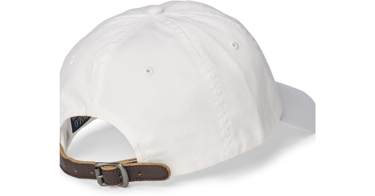 3a2343f5a8f Lyst - Polo Ralph Lauren Embroidered Chino Baseball Cap in White for Men