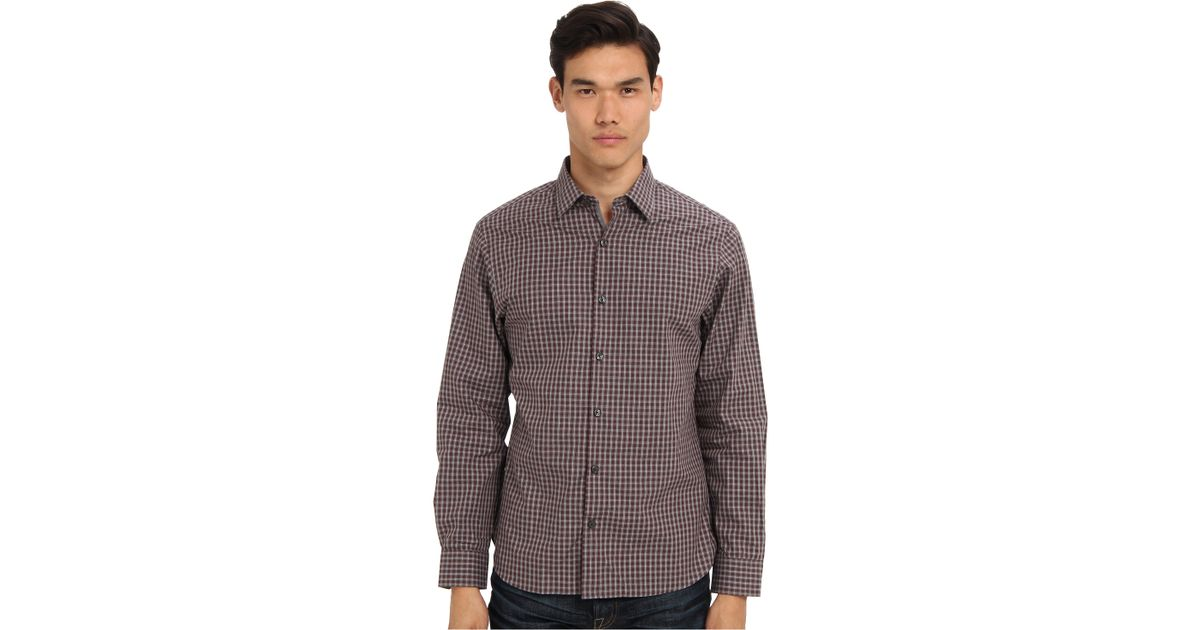 Michael kors floyd check ceo shirt in purple for men lyst for Michael kors mens shirts sale