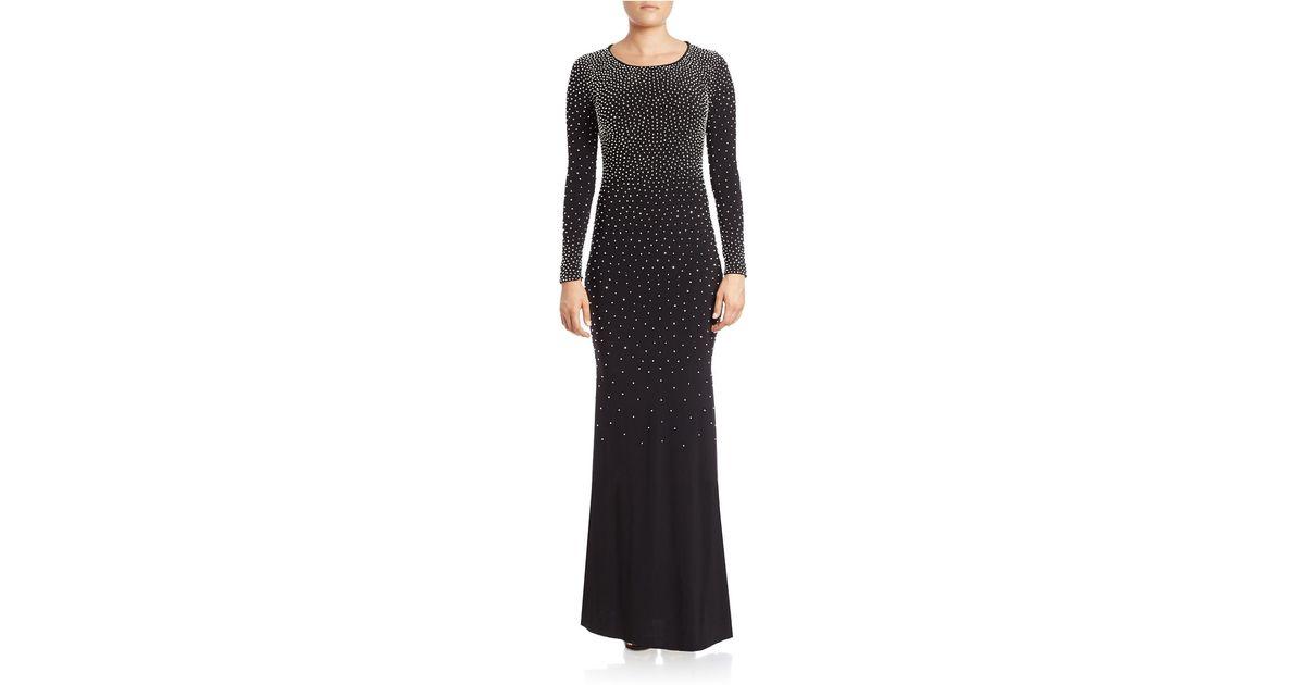 59f1ba88 Xscape Plus Beaded Long-sleeve Gown - Lyst