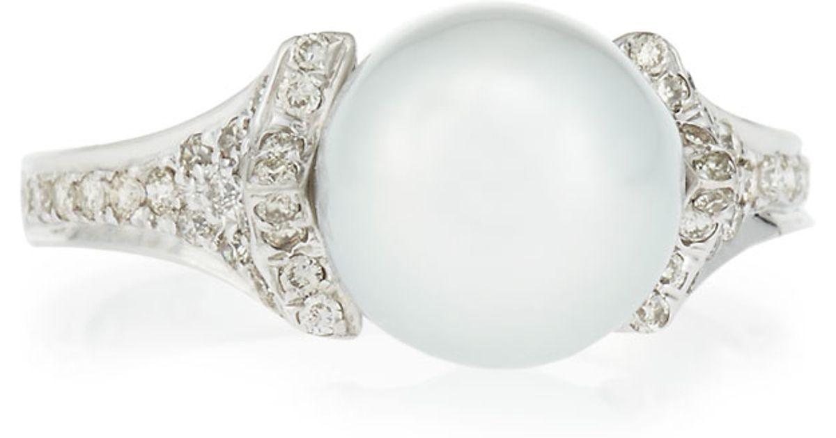 Belpearl 14k Three-Point Diamond & South Sea Pearl Ring 3Ccdgk