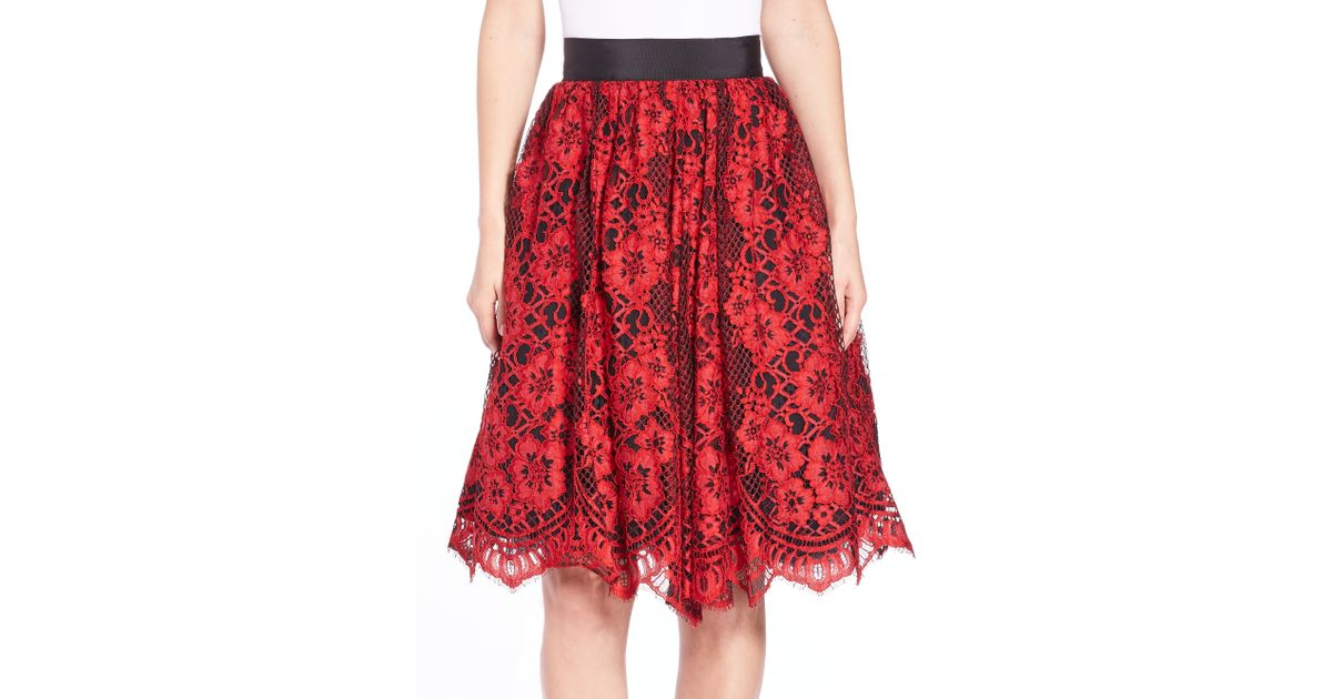 Alexis Lorelei Lace Skirt in Red | Lyst