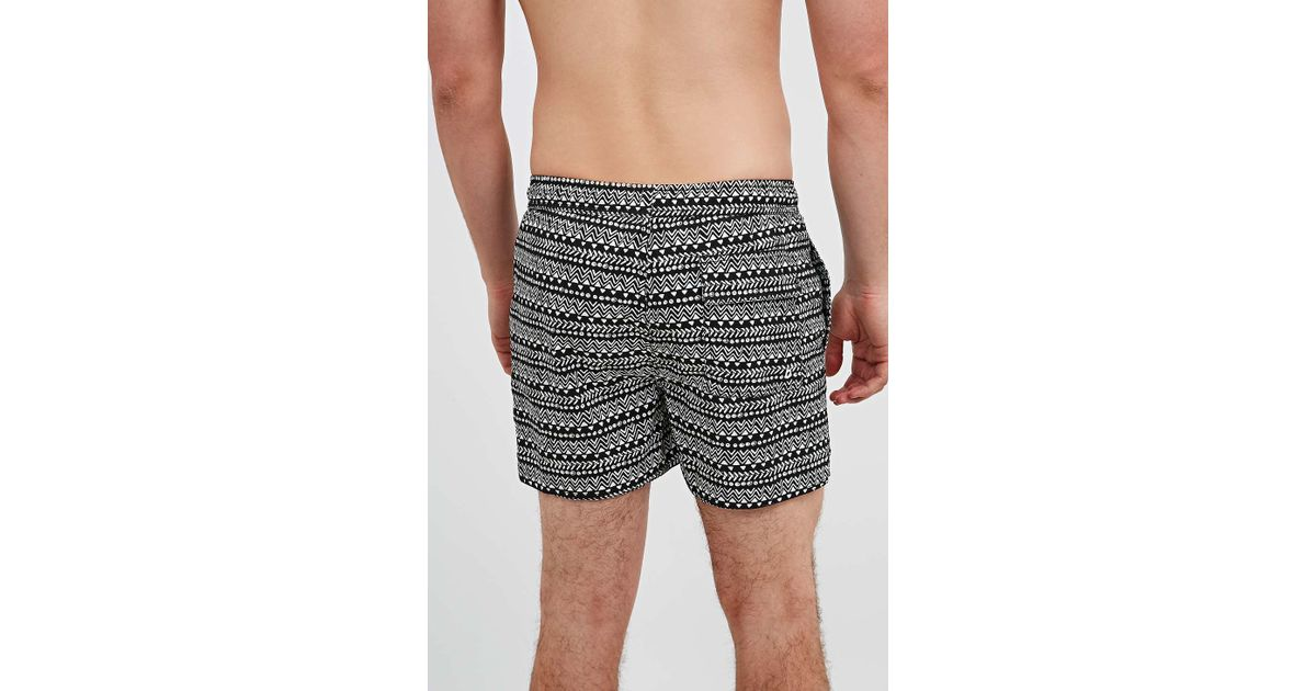 f05f64184e Native Youth Mono Pattern Swim Shorts In Black in Gray for Men - Lyst