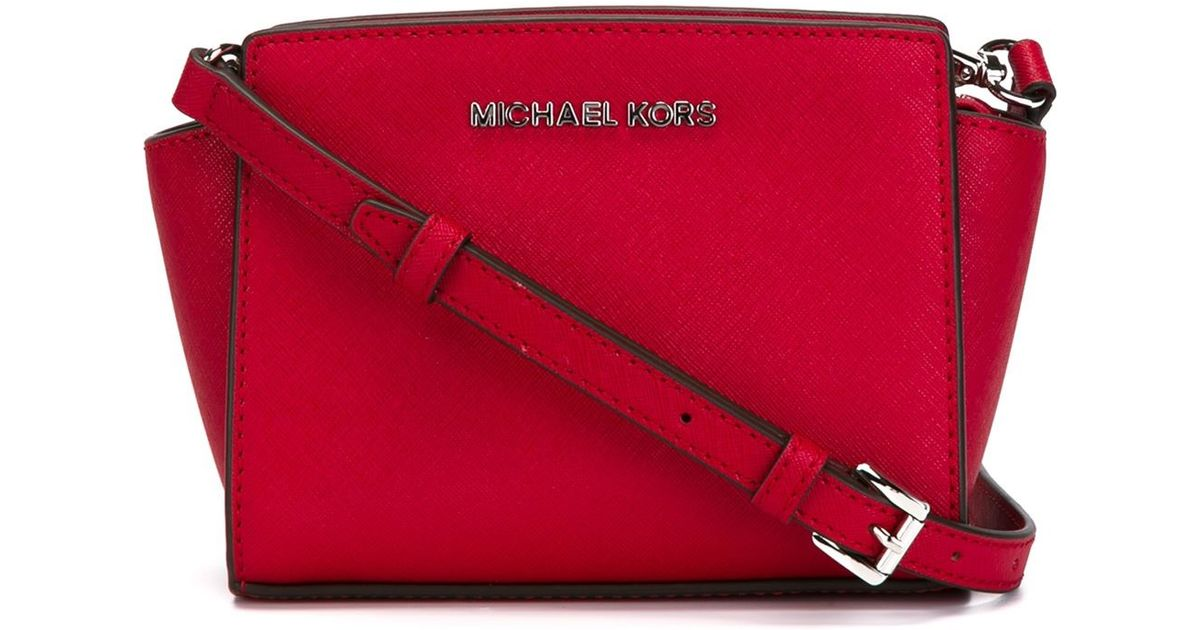 f163588f9a69 ... reduced lyst michael michael kors selma mini leather cross body bag in  red 1afc3 69890