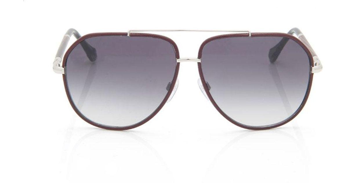 7a4186558 Balenciaga Leather Trim Aviator Sunglasses - Lyst