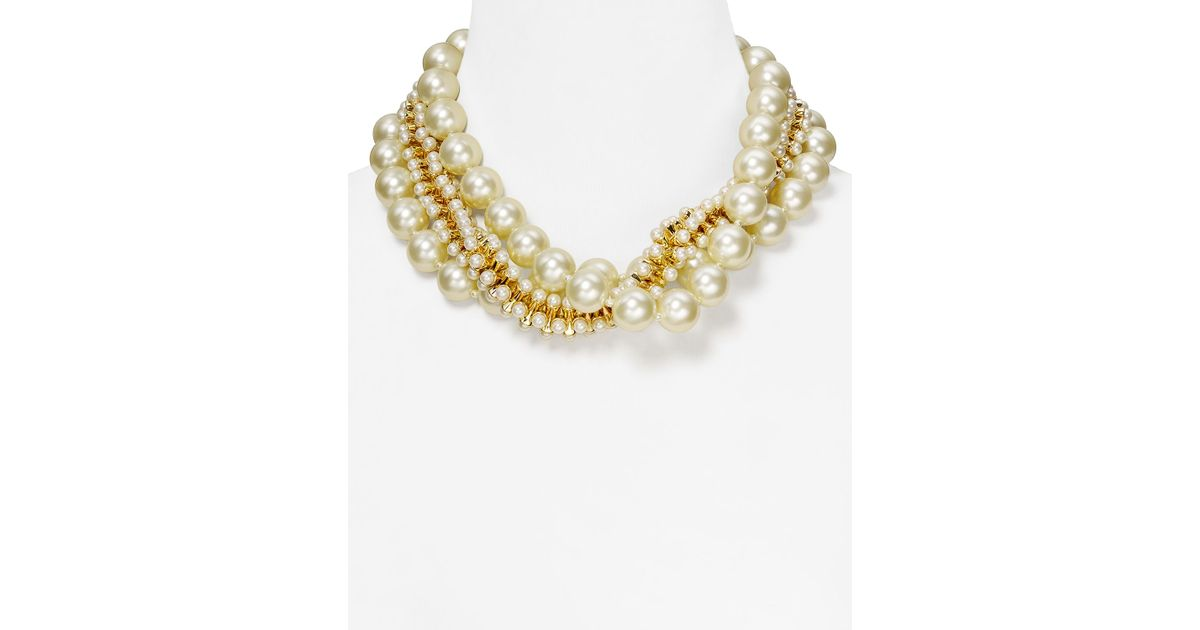 bb7c5ef0ca613 Kenneth Jay Lane - White Triple Row Mixed Faux-Pearl Necklace, 18