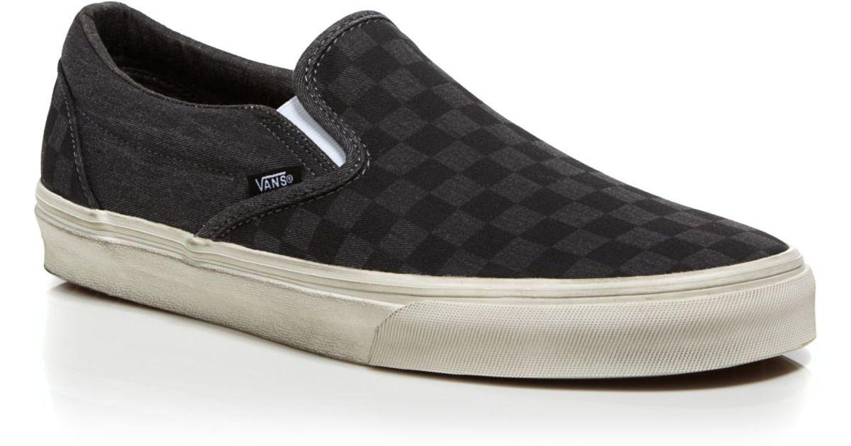 e3021250e2 Lyst - Vans Classic Overwashed Checker Slip On Sneakers in Black for Men
