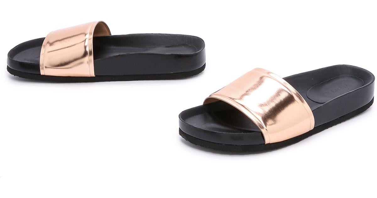 bfe2f1b9402 Vince Olivia Slides - Rose Gold Black in Pink - Lyst