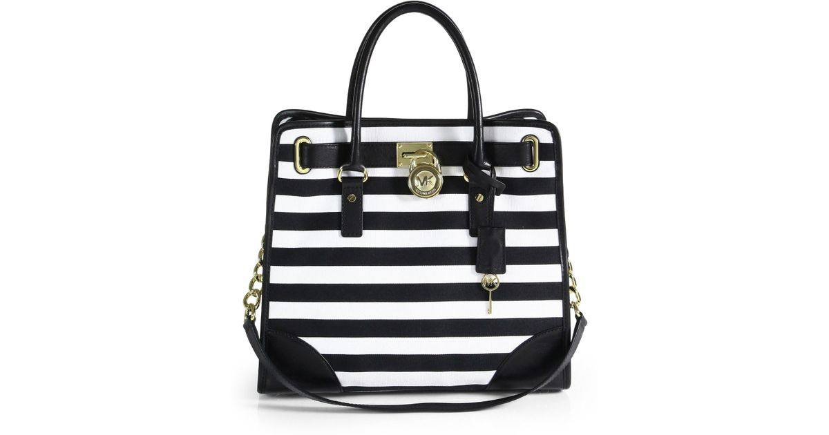 b5b5c524bf03 ... Jet Set Travel Center Stripe Medium. Lyst Michael Kors Hamilton Striped  Canvas Tote In Black. Michael Kors Handbags Black And White