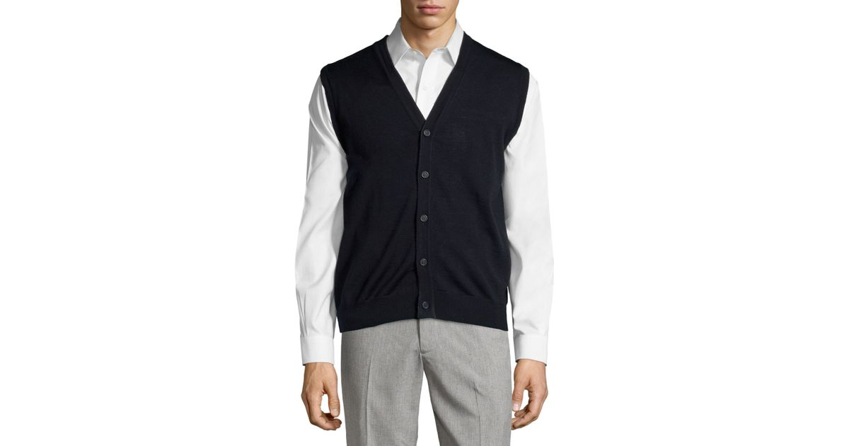 Neiman marcus Button-front V-neck Sweater Vest in Black for Men | Lyst