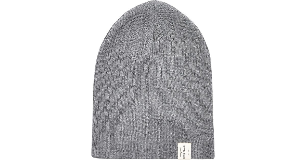 d1c64a7fbd6 River Island Grey Twist Knit Beanie Hat in Gray for Men - Lyst
