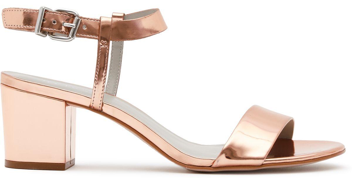 ab2b68d537a0 Reiss Vivi Block Mid-heel Sandals in Brown - Lyst