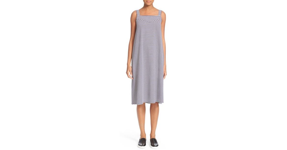 a p c 39 robe tulum 39 sleeveless shift dress in blue blanc. Black Bedroom Furniture Sets. Home Design Ideas