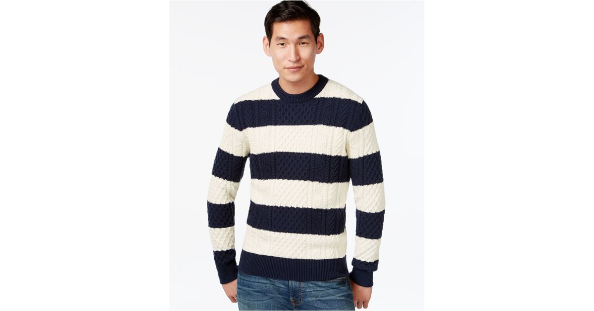 89903a0b86a64 Lyst Tommy Hilfiger Mikey Cable Knit Rugby Stripe Sweater In Blue