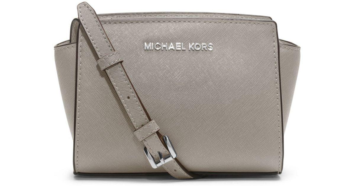bf39e9ef77156 spain lyst michael michael kors selma mini saffiano messenger bag in gray  da415 cc7ec