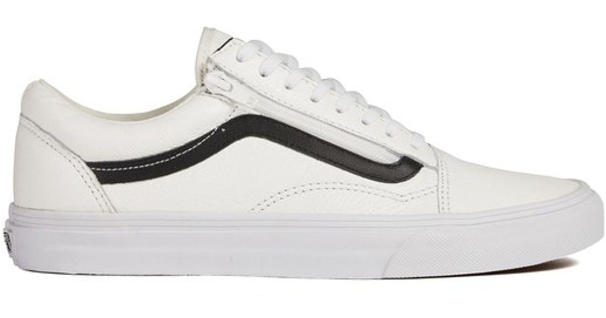 4cc9196f67 Vans Men s Old Skool Zip Premium Leather Trainers in White for Men - Lyst