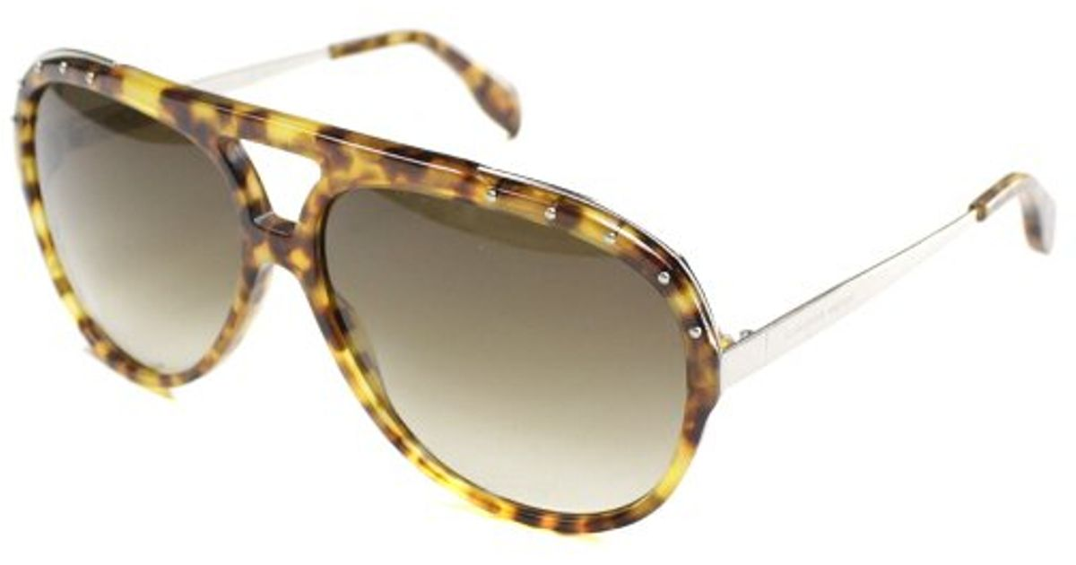 68d8ef404e980 Lyst - Alexander Mcqueen Am 4240 2im Havana Palladium Aviator Metal  Sunglasses in Brown