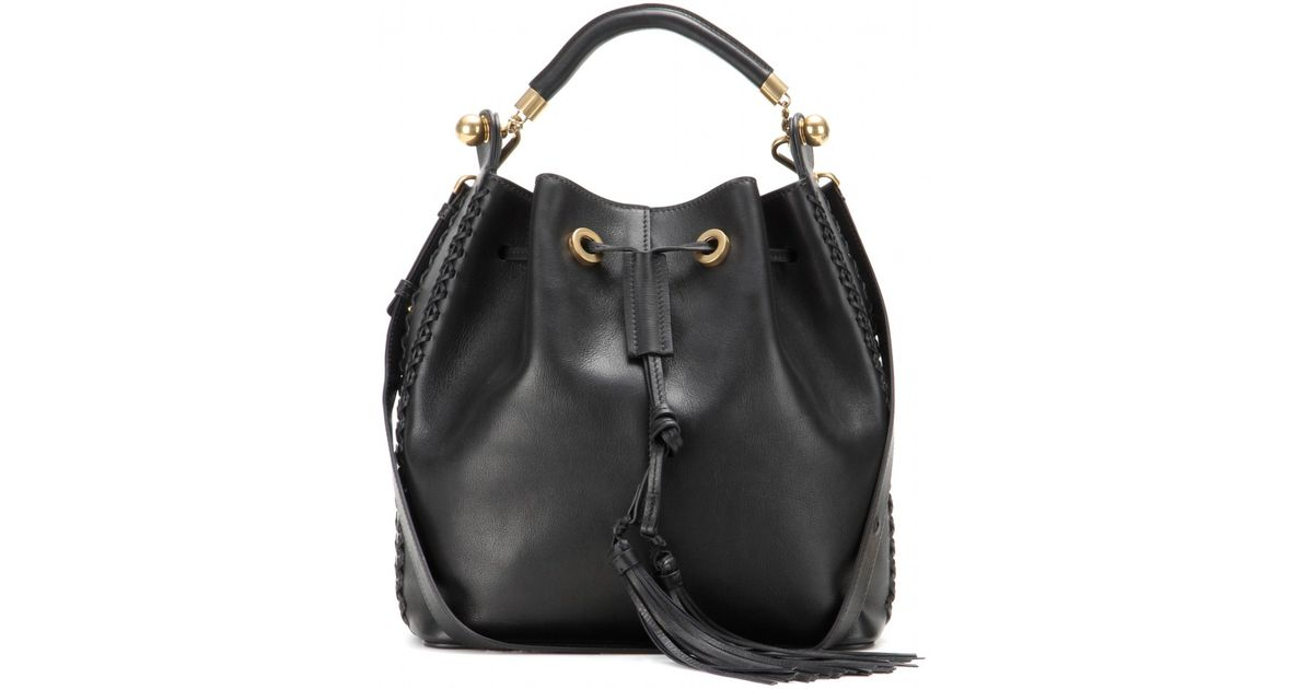 Chlo�� Gala Medium Leather Bucket Bag in Black | Lyst