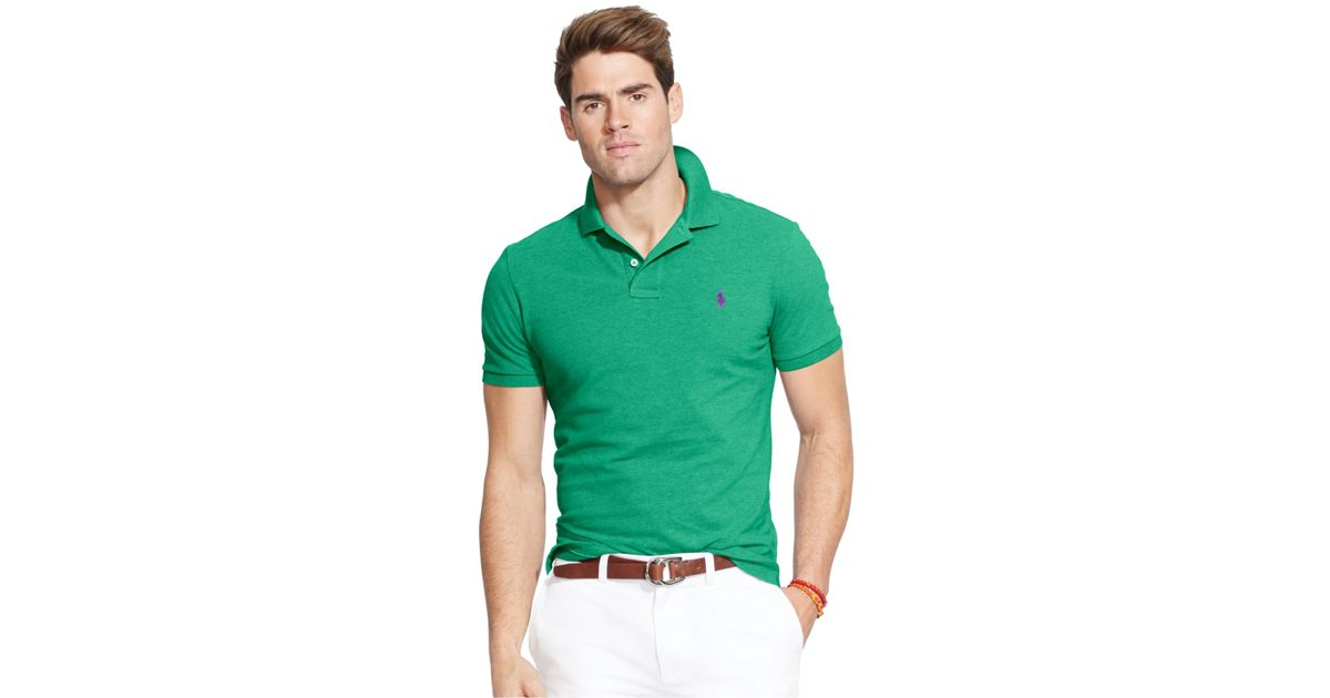 Ralph Lauren Custom-Fit Long Sleeved Polo Emerald Green .