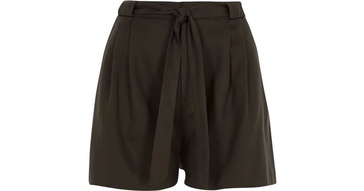River island Khaki Tie High Waisted Shorts in Brown | Lyst